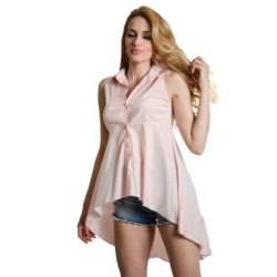Ροζ αμάνικη πουκαμίσα με ουρά