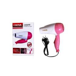 Nova Πιστολάκι Μαλλιών Σεσουάρ Ταξιδίου 1000W Hair Dryer σε Ροζ χρώμα, N-658 - NOVA