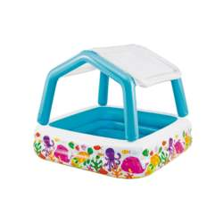 Intex Φουσκωτή Παιδική Πισίνα-Τέντα για Εξωτερικό χώρο 157x157x122cm με θέμα Ζωάκια της Θάλασσας 57470 - Intex