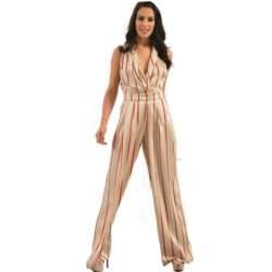 Γυναικεία ολόσωμη ριγέ φόρμα σατινέ - LOVE ME - SP18LV-200129