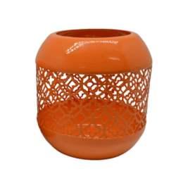 Μεταλλικό Στρογγυλό Φανάρι 9x9cm Πορτοκαλί (760954)