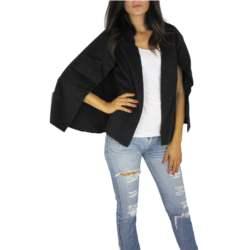 Γυναικεία κάπα μαύρη με σκισίματα - jkt67