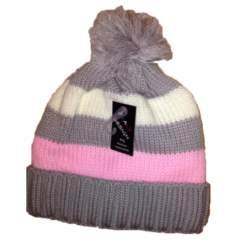 Πλεκτός σκούφος γκρι-ροζ με πον-πον